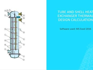 Tube and shell heat exchanger thermal design calculation