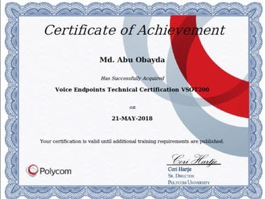 Voice Endpoint Technical Certificate