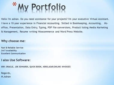 Virtual Assistant/Financial accounting/Data Entry/ Resume