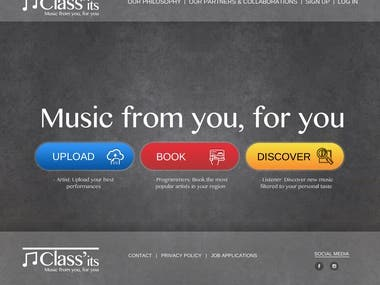 Music website homepage