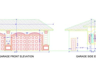 House elevation design in autoCAD 2d.