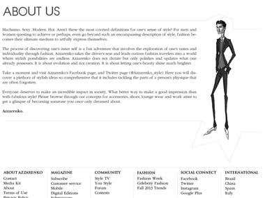 Azzarenko Website Layout