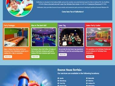 Kids parties & playplace website design