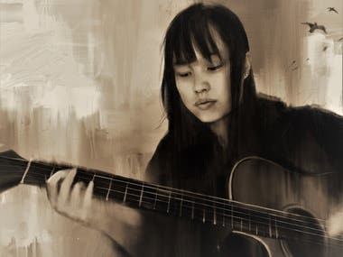 Portrait of a girl with a guitar