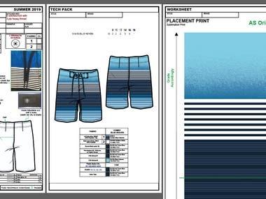 Garments Board short Tech Pack
