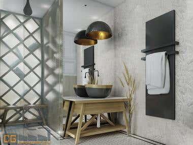 Interior renderig > Bathrooms