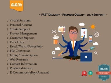 Any type of Data Entry, Email Management, VA Support,