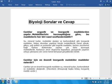 Its a Turkish Translation Sample
