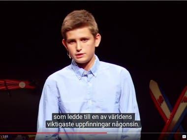 Swedish subtitling of TEDxYouth talk.