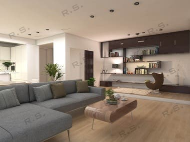 Interior render for complete apartment