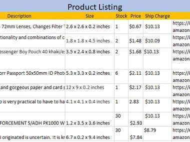 Product listing data entry
