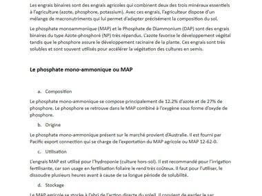 Rédaction : Engrais MAP