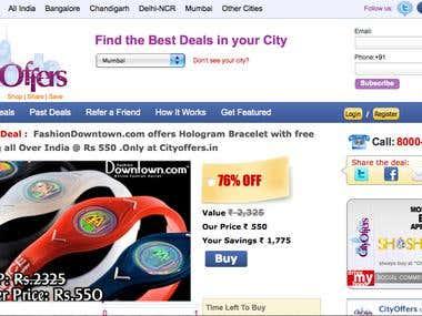 Screenshot of deals website developed by Capsicum