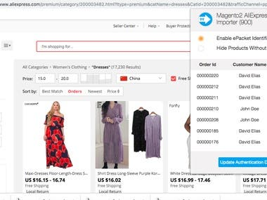 Add products with google chrome extension