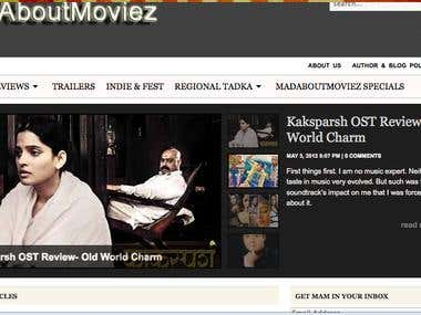 Screenshot of movie lovers site (Wordpress)
