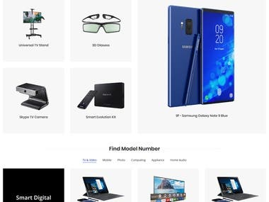 Samsung Parts E-commerce Website Home Page Design