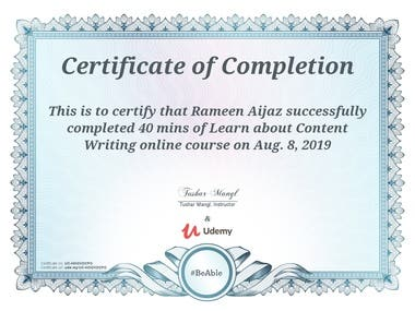 Content Writing Certificate