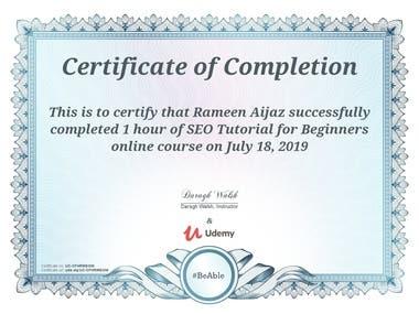 SEO beginners course certificate