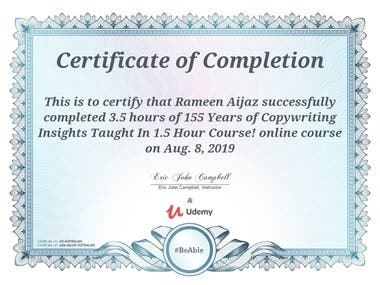 Copywriting Course Certificate