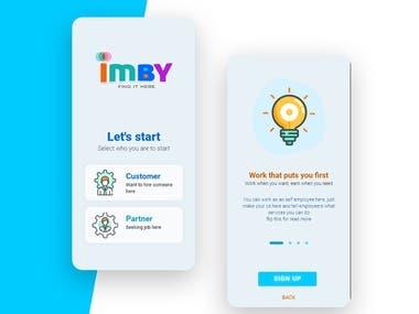 IMBY mobile app logo and UI design
