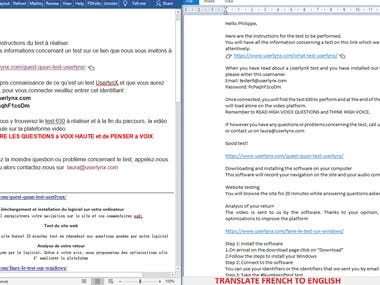 MY TRANSLATION DATA ENTRY WORK FRENCH TO ENGLISH.