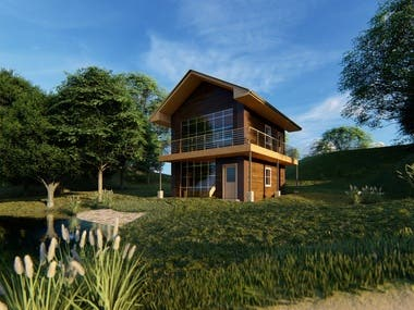Sample 3D Visualization of house in the woods