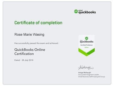 QuickBooks ProAdvisor Certicate