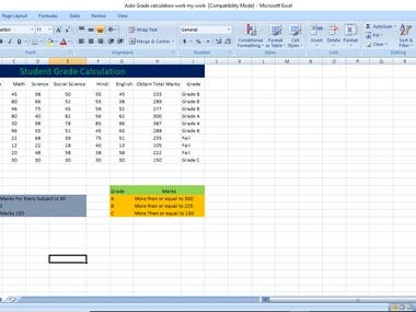 Excel work,student grade calculation for result