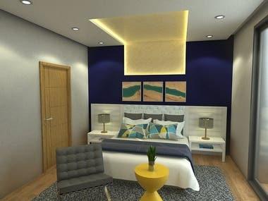 Bedroom design 3D and rendering