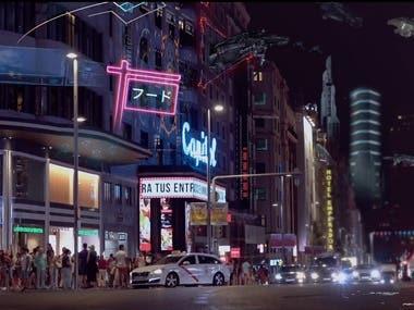FUTURISTIC CITY SCENE