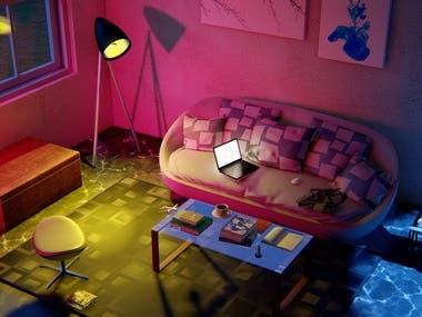 interior living room design & rendering