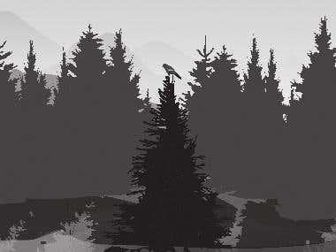Bird in forest illustration