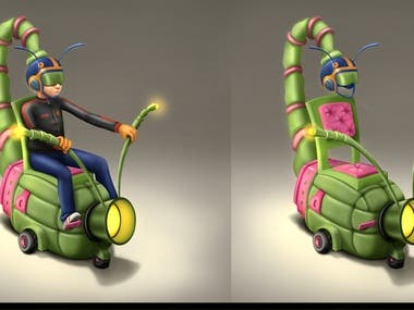 Digital painting - Fantasy insect vehicle design