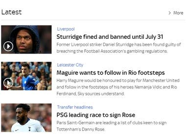 Sports news site