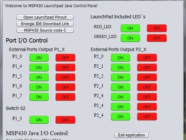 MSP430 launchpad I/O control panel