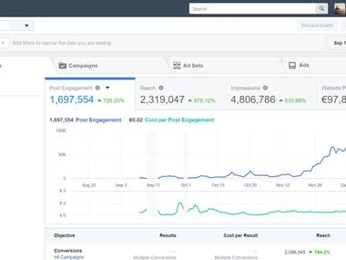 Facebook Ads results - Campaign for a french e-commerce site