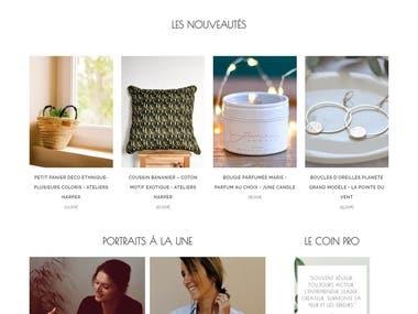 Custom marketplace E-Commerce website -Lesmainscurieuses.com