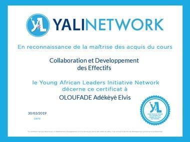 YALI NETWORK CERTIFICATE