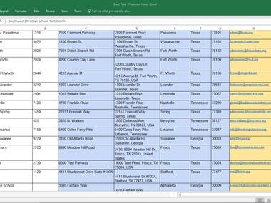 Data Entry,Web Search,Excel