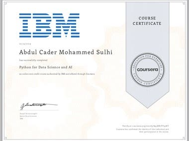 Certificate for Python for Data Science and AI Course