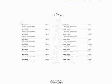 Web design for a restaurant