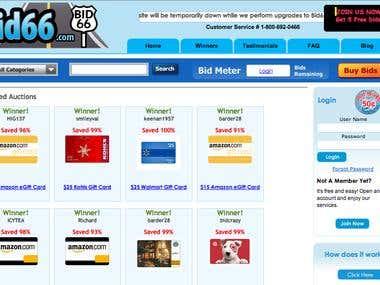 Bid66 Penny auction site