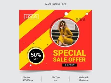 20 Sale Web banner design for social media