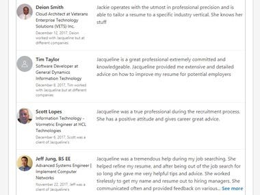 44 Testimonials from satisfied resume customers