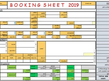 Quoting Sheet Design and Implementation for Food Industry