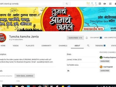 YouTube Channel Management - Marathi Stand Up Comedy Channel