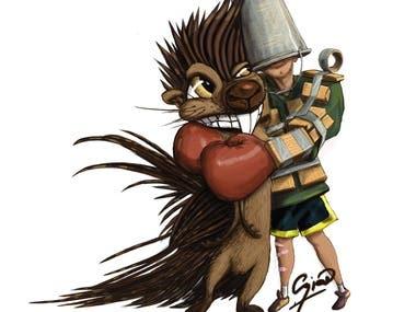 Someone hugging porcupine