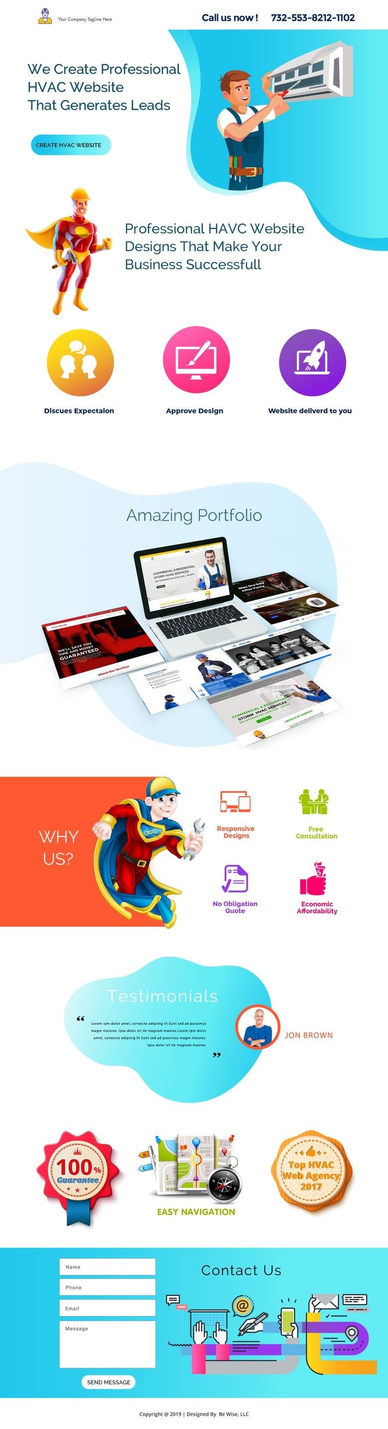 Hvac Landing Page and Digital Marketing   Freelancer