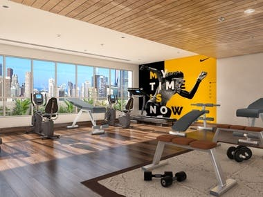 3d interior of gym using 3ds max