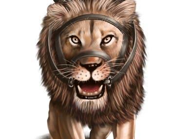 cat riding lion illustration